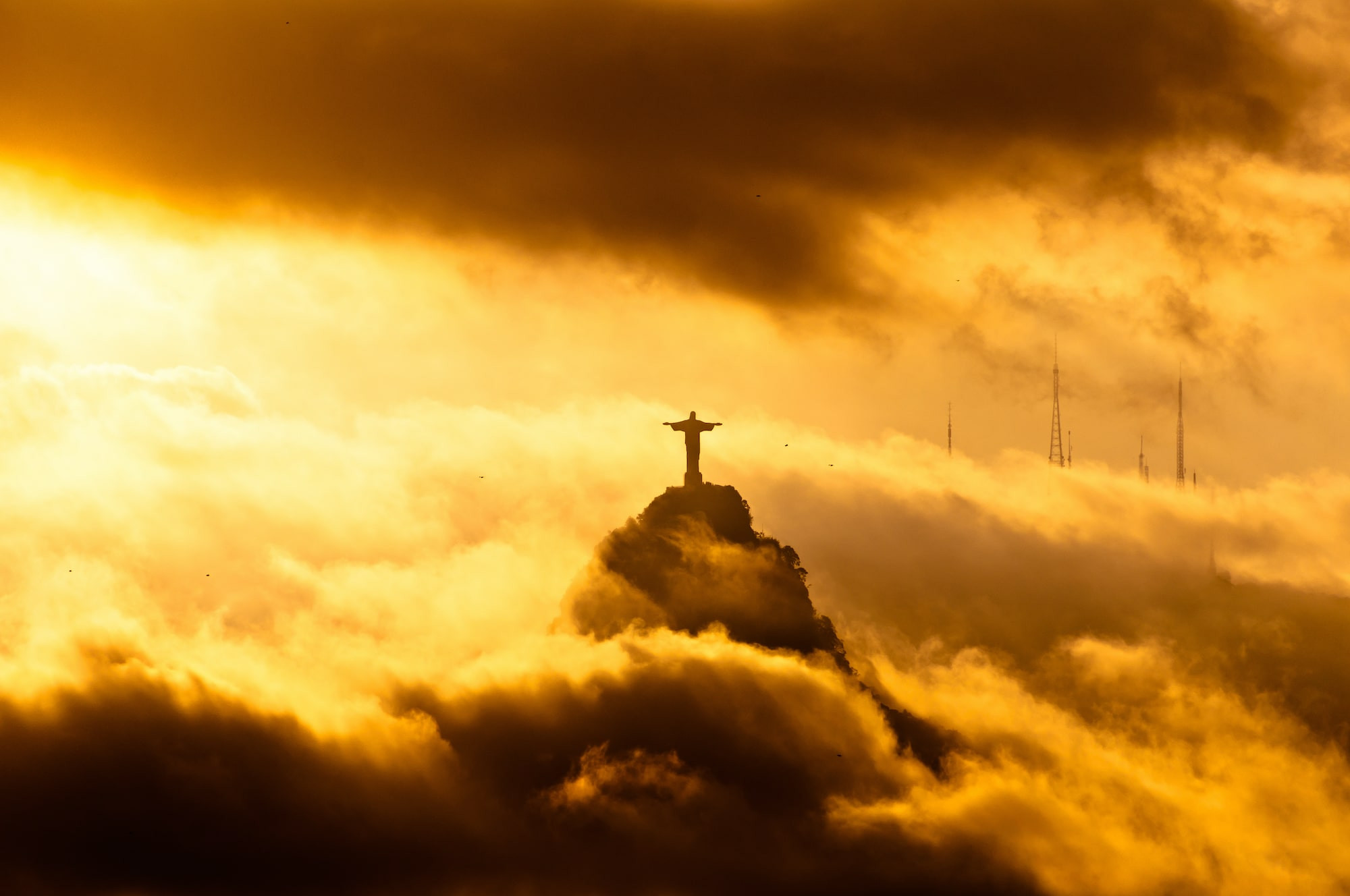 Christ the Redeemer in the clouds around Rio